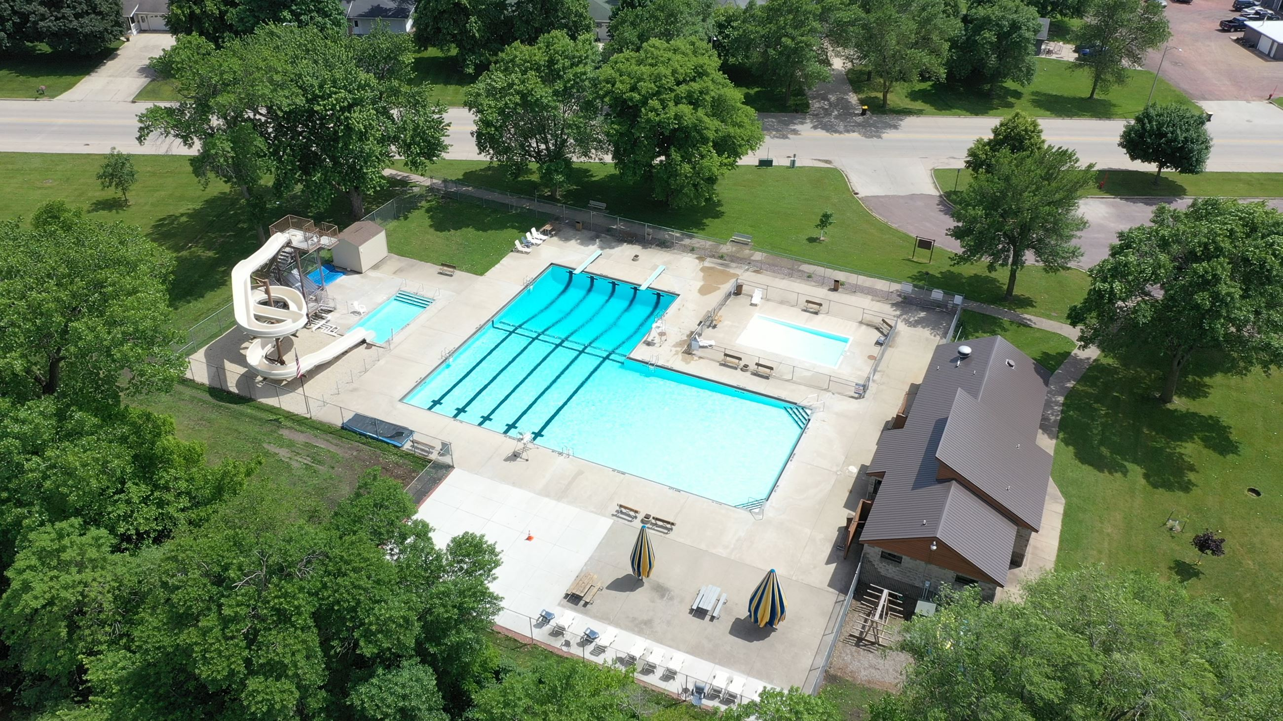 Aerial photo of outdoor pool